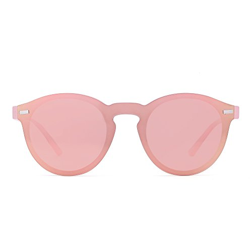 Polarized Rimless Sunglasses Reflective One Piece Round Mirrored Eyeglasses for Men Women (Transparent Pink / - Mirrored Pink Hot Sunglasses