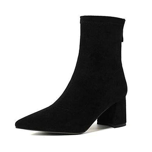 épais jaune neige et de noir femmes talon marron avec daim bottines à bottes marron Bottes pour Iwxez en fermé bout qTCPC75