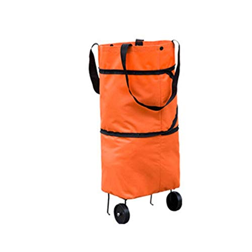 Foldable Shopping Trolley Bag, Rolling Collapsible Shopping Bags on Wheels, Grocery Tote Dolly Bag for Picnic Beach Luggage Travel