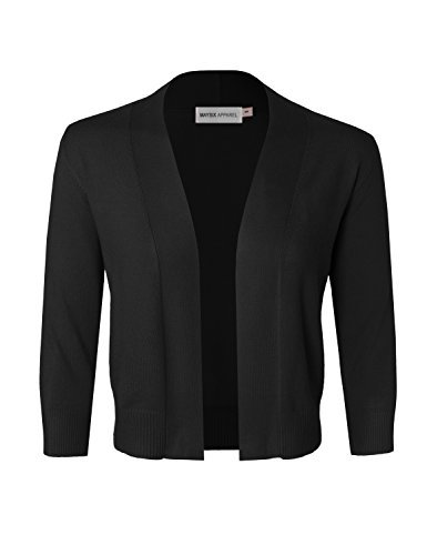 MAYSIX APPAREL 3/4 Sleeve Solid Open Bolero Cropped Cardigan For Women BLACK ()