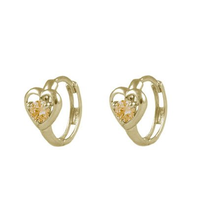 Baby And Toddler 14K Yellow Gold Heart Simulated November Birthstone Hoop (Gold November Birthstone Earrings)