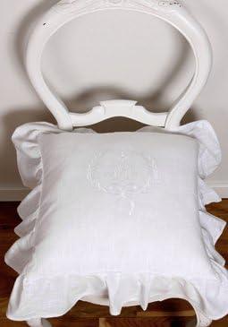 Stuhlkissenbezug Sitzkissenbezug 'Emmy' 42 x 42 cm mit aufgesticktem Monogramm und Volant weiß Baumwolle Landhaus Shabby French Vintage Retro Antik