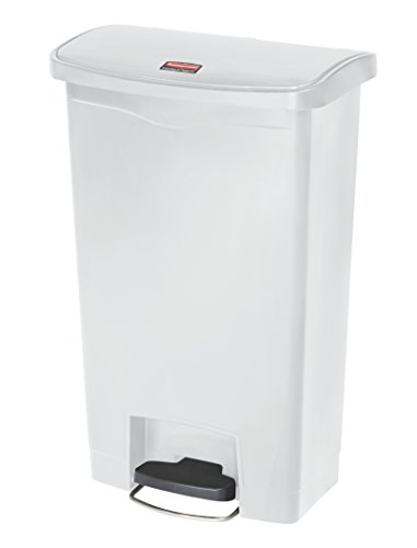 Rubbermaid Commercial Products Slim Jim Step-On Plastic Trash/Garbage Cans, 13 Gallon, Plastic Front Step Step-On, White