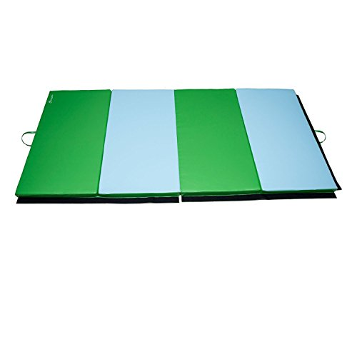 Soozier PU Leather Gymnastics Tumbling/Martial Arts Folding Mat, Light Blue/Green, 4 x 8' x 2