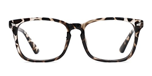 Glasses Black Frame Grey Lens - TIJN Unisex Stylish Non-Prescription Eyeglasses Glasses Clear Lens Square Eyewear Leopard Frame