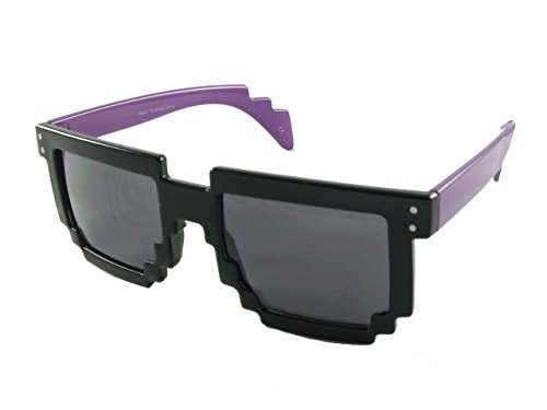 Revive Eyewear Men's Pixel 90's Retro Nerd Purple Frame/ Black Lens Non Polarized Sunglasses - Uk Nerd Glasses