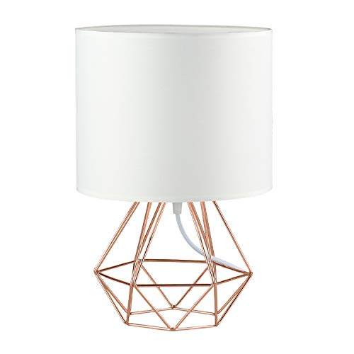 - Modern Vintage Style Table Lamps - FRIDEKO Ecopower Minimalist Bedside Lamp Night Light Copper Fabric Light Shade Hollowed Out Cage Base Desk Lighting Fixture Best Gift for Girl - White - Rose Gold
