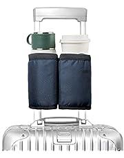 Portavasos de viaje para equipaje, soporte para bebidas con manos libres, para dos tazas de café, se adapta a asas de veliz enrollables