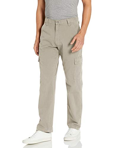 Wrangler Authentics Men's Classic Twill Relaxed Fit Cargo Pant, Khaki Dust, 34 x 32