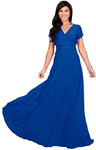 (KOH KOH Plus Size Womens Long Cap Short Sleeve V-Neck Flowy Cocktail Slimming Summer Sexy Casual Formal Sun Sundress Work Cute Gown Gowns Maxi Dress Dresses, Cobalt/Royal Blue XL 14-16)
