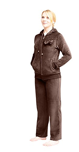 White Lilly Quality Velour Sweatshirt/Sweatpants Set with Bow Accent (Large, Brown) Velour Jumper Set