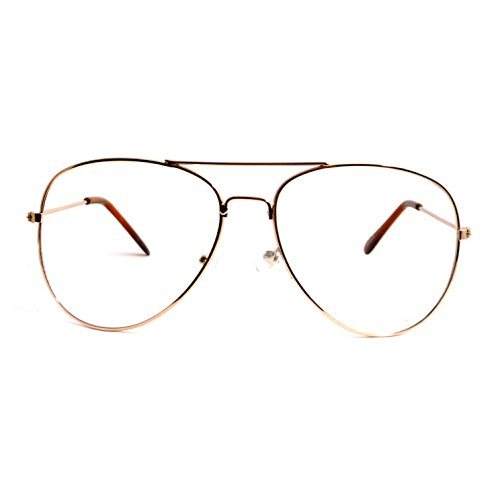 VINTAGE Aviator Retro Metal Square Frame Clear Lens Eye Glasses GOLD