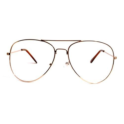 VINTAGE Aviator Retro Metal Square Frame Clear Lens Eye Glasses - Aviator Square Glasses