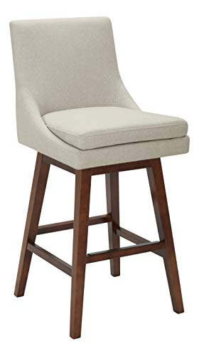 Stone Beam Alaina Contemporary High-Back Swivel Seat Counter Stool, 39 H, Chalk