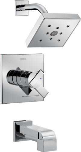 Compliant Delta Faucets - Delta Faucet Ara 17 Series Dual-Function Tub and Shower Trim Kit with Single-Spray H2Okinetic Shower Head, Chrome T17467 (Valve Not Included)