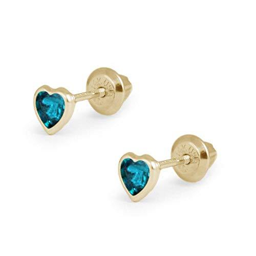 Girl's 14K Yellow Gold Simulated December Birthstone Heart Shape Screw Back Stud Earrings (Baby December Birthstone Earrings)