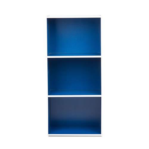 H2O Storage Organizer 3-Tiered Open Shelf Bookcase, 35-Inch, Blue (Blue Bookshelf Navy)