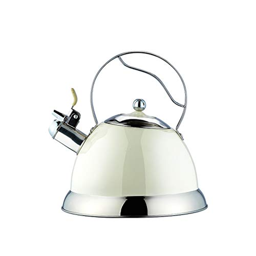 White Gas Cooker (Household Whistle Kettle Milk White 304 Stainless Steel Ring Pot Gas Stove Induction Cooker Universal 3L Large Capacity Kitchen Jugs)