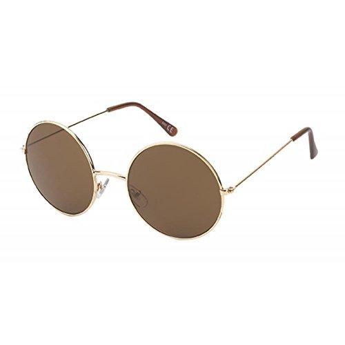 Chic 400 metal Net grandes entonado Gafas Lennon de redondas de embarcadero largo Marrón sol UV gafas de estilo de rrBzOwdq