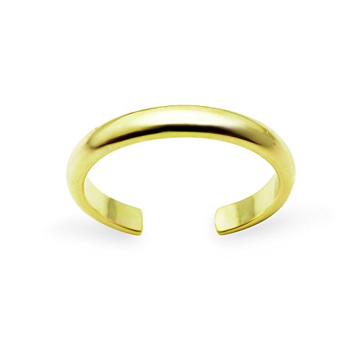 Yellow Gold Flashed Sterling Silver High Polished Plain Simple Adjustable Toe Ring