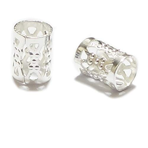 24pcs Top Quality 8x6mm Silver Plated Filigree Pattern Tube Spacer Beads Copper Metal (Hole Size ~4.9mm) CF106-S