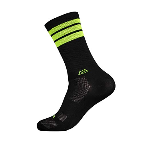 HUIZAPOL Calcetines Deportivos para Ciclismo y Atletismo con compresión Medida (S-M, Negro-AMARILLONEON)