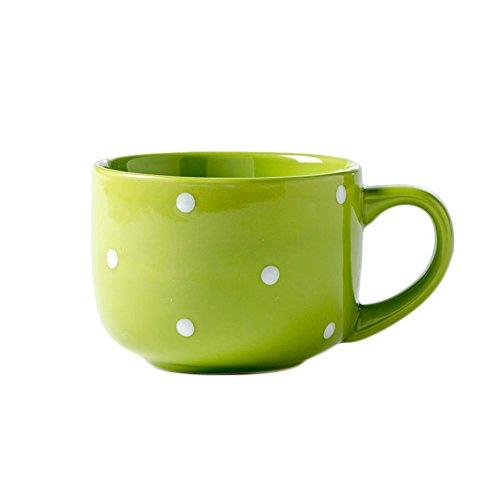 CHOOLD Large Ceramic Coffee Mug Polka Dot Milk Cup Tea Cup Jumbo Mugs Soup Bowl with Handle for Couple 15oz(Colorful) (Jumbo Mug Ceramic)