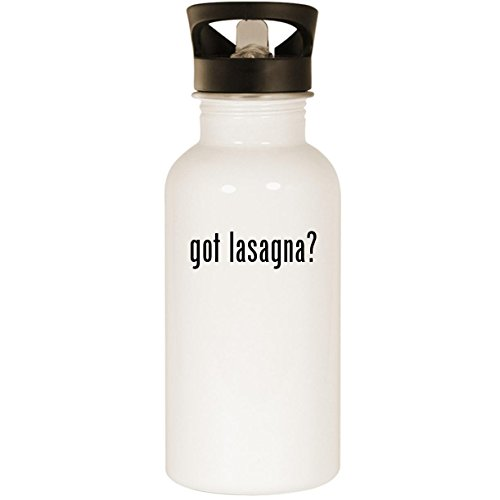 got lasagna? - Stainless Steel 20oz Road Ready Water Bottle, White
