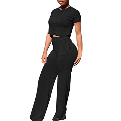 (♡ Londony ♡ Women Casual O-Neck Short Sleeve Crop Tops High Waist Flare Long Pants Jumpers 2 Piece Outfits Sportswear Black )