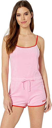Juicy Couture Women's Microterry Strappy Logo Romper Bikini Pink Small ()