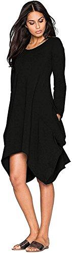 Girocollo Ufficio Minetom Tinta Donna Camicie Vestito Corta Elegante Manica Sexy Maglia Blusa Unita Casual Irregolare Nero Camicia 7pwx7qH