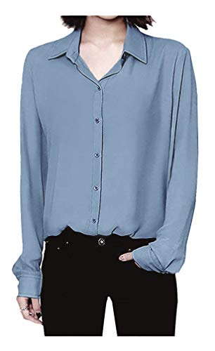(ARJOSA Women's Chiffon Long Sleeve Button Down Casual Shirt Blouse Top (US S/Asian L, Blue))