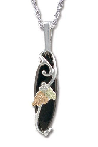 Black Hills Gold Onyx Pendant made of Sterling Silver with 25X7MM Onyx Stone