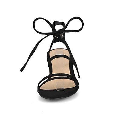 LvYuan Mujer Sandalias Confort Tira en el Tobillo Semicuero Verano Casual Vestido Confort Tira en el Tobillo Tacón Robusto Negro Beige Amarillo beige