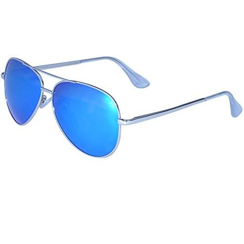 Aviator Sunglasses For Men Women polarized With Accessories-UV400 Protection Large Metal Frame (Blue Lens Silver - Types Glasses For Guys Of Frames