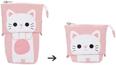 Lavany Pencil Case,Cute Cat Canvas Pencil Bag Transformer Stand Store Pencil Holder with Zipper for Boys Girls (C)