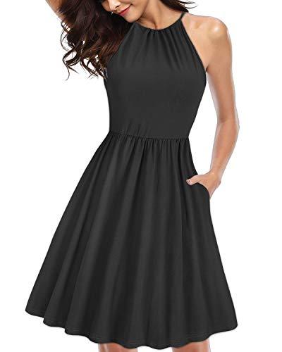 KILIG Women's Halter Neck Floral Sundress Casual Summer Dresses with Pockets (Black,XL) ()