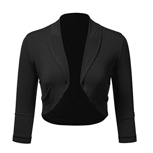 iYBUIA Women Plus Size Three Quarter Sleeve Solid Bolero Shrug Open Front Cropped Mini Office Work Cardigan(Black,M)