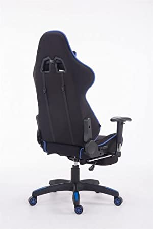 CLP Silla Gaming Turbo Tapizado de Tela I Silla Gamer Giratoria I Silla Racing Regulable en Altura I Silla Oficina con Reposapiés I Color: Negro/Azul: ...
