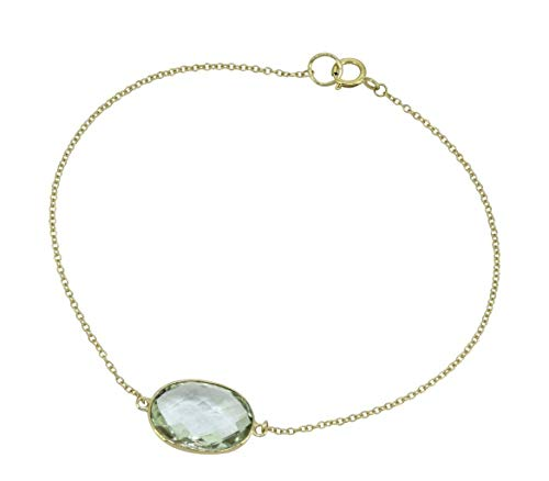 YoTreasure Green Amethyst Solid 10K Yellow Gold Chain Bracelet, 7.5