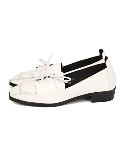 Paracolpi Fa31 Donna In Similpelle Punta Squadrata Lace Up Oxford Mocassino - Bianco