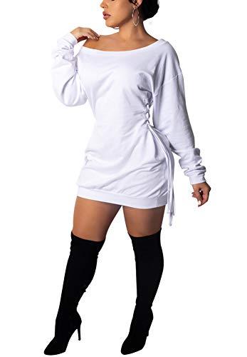 Deloreva Women Long Sweatshirt Dress - Off The Shoulder Tunic Top Oversized Loose Fit T Shirt Mini Dress White XXL