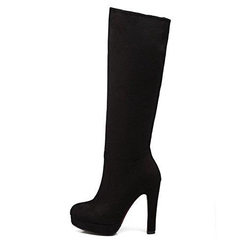Allhqfashion Womens High Heels Solide Ronde Gesloten Neus Frosted Rits Laarzen Zwart