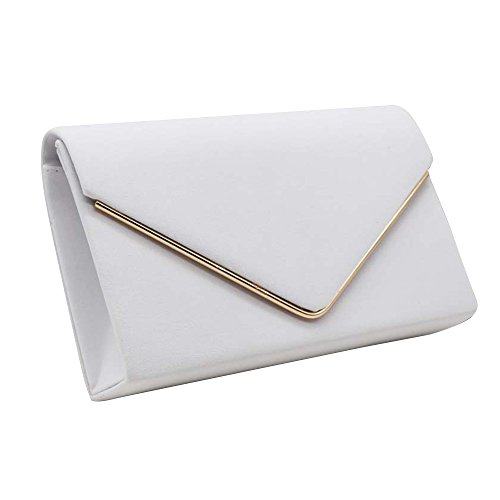 UK Brand Wocharm Shoulder Post Elegant Velvet New Suede Ladies Evening Envelope Clutch Handbag Womens Prom White Bag pr6fpwRxnq