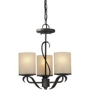 03 Forte Ceiling Lighting - Forte Lighting 2230-03-64 Transitional 3 Light Chandelier, Bordeaux Finish with Rustic Umber Glass