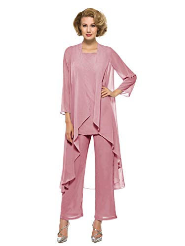(Annxrose Women's Loose 3 Pieces 3/4 Sleeve Chiffon Mother of The Bride Pantsuits Jumpsuits Rompers Size 22 Blush)