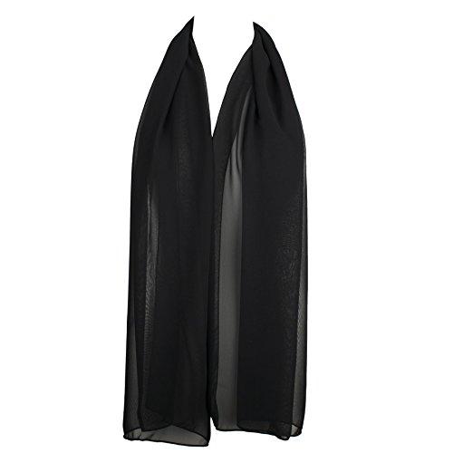 Black Chiffon Scarf (HatToSocks Chiffon Scarf Sheer Wrap for Women - Black - Can be Worn as Lightweight Hijab Hair Scarf - Voile Boho Beach Sarong - Evening Shawl - Bridesmaid Neck Scarf - Headband for Girls)