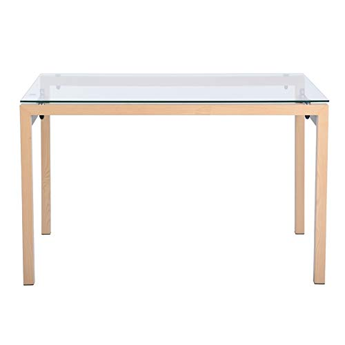 Kitchen Dining Table with Extra Thick Glass Top Wooden Leg Rectangular Vintage, White (Wooden Top Dining Table Glass)