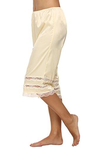 (FANEO Women's Bottoms Split Skirt Culottes Lingerie Satin Lace Pettipants Cuffed (S, Beige))