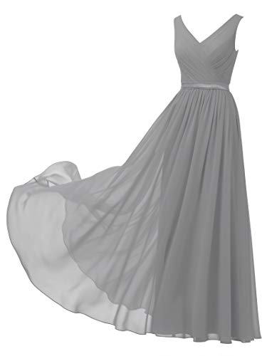 (Alicepub V-Neck Chiffon Bridesmaid Dress Long Party Prom Evening Dress Sleeveless, Dove, US18)
